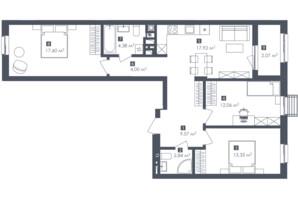 ЖК Малоголосківські пагорби: планування 3-кімнатної квартири 83.77 м²