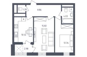 ЖК Малоголосківські пагорби: планування 2-кімнатної квартири 61.68 м²