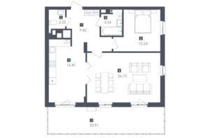 ЖК Малоголосківські пагорби: планування 2-кімнатної квартири 77.72 м²