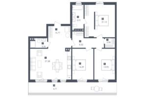 ЖК Малоголосківські пагорби: планування 3-кімнатної квартири 112.96 м²