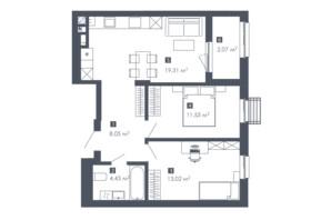 ЖК Малоголосківські пагорби: планування 2-кімнатної квартири 58.41 м²