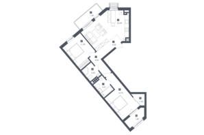 ЖК Малоголосківські пагорби: планування 2-кімнатної квартири 72.01 м²