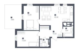 ЖК Малоголосківські пагорби: планування 2-кімнатної квартири 71.84 м²