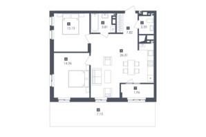 ЖК Малоголосківські пагорби: планування 2-кімнатної квартири 78.55 м²