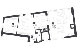 ЖК Малоголосківські пагорби: планування 2-кімнатної квартири 61.8 м²