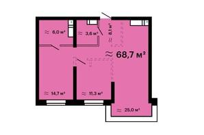 ЖК Mandarin Art: планировка 2-комнатной квартиры 68.4 м²