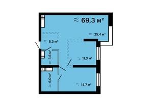ЖК Mandarin Art: планировка 2-комнатной квартиры 69.3 м²
