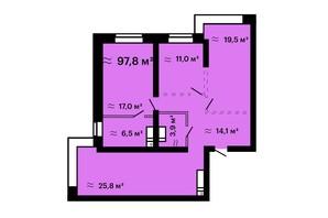 ЖК Mandarin Art: планировка 3-комнатной квартиры 97.8 м²