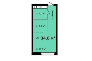 ЖК Mandarin Art: планировка 1-комнатной квартиры 34.8 м²