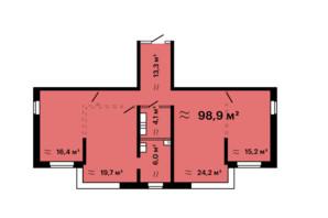 ЖК Mandarin Art: планировка 3-комнатной квартиры 98.9 м²