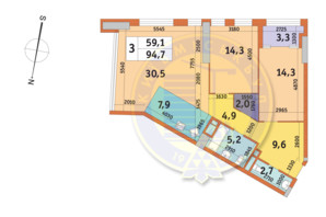 ЖК Manhattan City: планировка 3-комнатной квартиры 94.7 м²