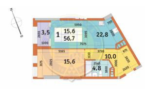 ЖК Manhattan City: планировка 1-комнатной квартиры 56.7 м²