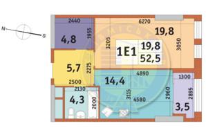 ЖК Manhattan City: планировка 1-комнатной квартиры 52.5 м²