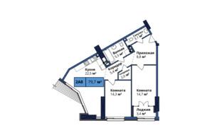 ЖК Manhattan City: планировка 2-комнатной квартиры 80.1 м²