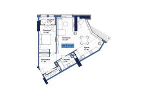 ЖК Manhattan City: планировка 2-комнатной квартиры 79.6 м²