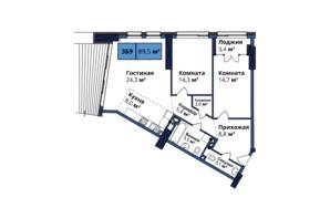 ЖК Manhattan City: планування 3-кімнатної квартири 88.4 м²