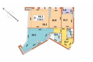 ЖК Manhattan City (Маехеттен Сіті): планування 3-кімнатної квартири 116.2 м²