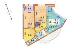 ЖК Manhattan City (Маехеттен Сіті): планування 2-кімнатної квартири 78.9 м²