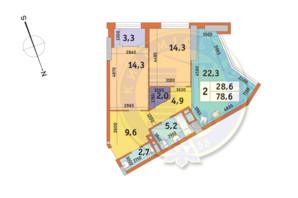 ЖК Manhattan City (Маехеттен Сіті): планування 2-кімнатної квартири 78.6 м²