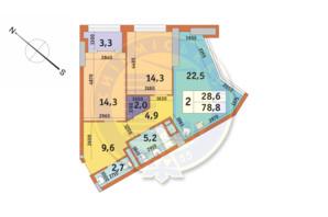 ЖК Manhattan City (Маехеттен Сіті): планування 2-кімнатної квартири 78.8 м²