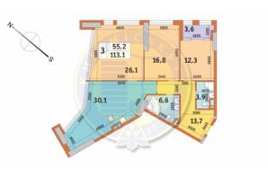 ЖК Manhattan City (Маехеттен Сіті): планування 3-кімнатної квартири 113.1 м²