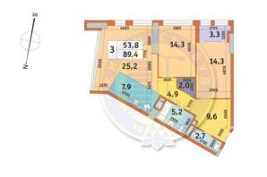 ЖК Manhattan City (Маехеттен Сіті): планування 3-кімнатної квартири 89.4 м²