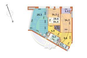 ЖК Manhattan City (Маехеттен Сіті): планування 2-кімнатної квартири 85.5 м²