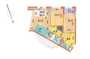 ЖК Manhattan City (Маехеттен Сіті): планування 3-кімнатної квартири 86.4 м²