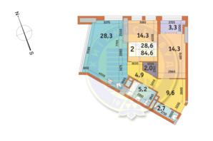 ЖК Manhattan City (Маехеттен Сіті): планування 2-кімнатної квартири 84.6 м²