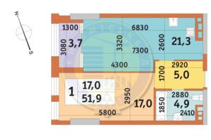 ЖК Manhattan City (Маехеттен Сіті): планування 1-кімнатної квартири 51.9 м²