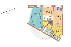 ЖК Manhattan City (Маехеттен Сіті): планування 2-кімнатної квартири 81.9 м²