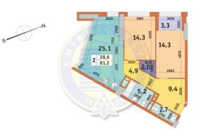 ЖК Manhattan City (Маехеттен Сіті): планування 2-кімнатної квартири 81.2 м²