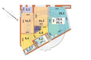 ЖК Manhattan City (Маехеттен Сіті): планування 2-кімнатної квартири 85.4 м²