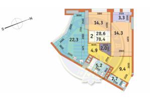 ЖК Manhattan City (Маехеттен Сіті): планування 2-кімнатної квартири 78.4 м²