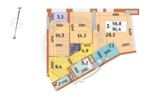 ЖК Manhattan City (Маехеттен Сіті): планування 3-кімнатної квартири 91.4 м²