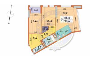 ЖК Manhattan City (Маехеттен Сіті): планування 3-кімнатної квартири 90.4 м²