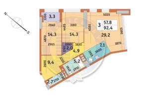 ЖК Manhattan City (Маехеттен Сіті): планування 3-кімнатної квартири 92.4 м²