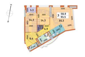 ЖК Manhattan City (Маехеттен Сіті): планування 3-кімнатної квартири 93.5 м²