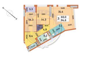 ЖК Manhattan City (Маехеттен Сіті): планування 3-кімнатної квартири 94.6 м²