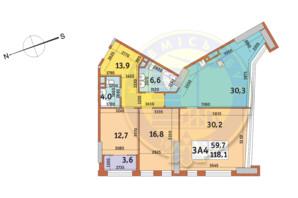 ЖК Manhattan City (Маехеттен Сіті): планування 3-кімнатної квартири 118.1 м²