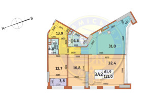 ЖК Manhattan City (Маехеттен Сіті): планування 3-кімнатної квартири 121 м²