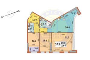 ЖК Manhattan City (Маехеттен Сіті): планування 3-кімнатної квартири 119.5 м²