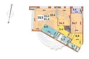 ЖК Manhattan City (Маехеттен Сіті): планування 3-кімнатної квартири 95.8 м²