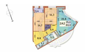 ЖК Manhattan City (Маехеттен Сіті): планування 2-кімнатної квартири 80 м²