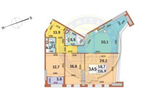 ЖК Manhattan City (Маехеттен Сіті): планування 3-кімнатної квартири 116.9 м²