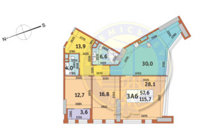 ЖК Manhattan City (Маехеттен Сіті): планування 3-кімнатної квартири 115.7 м²