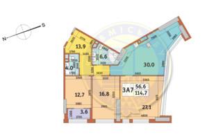 ЖК Manhattan City (Маехеттен Сіті): планування 3-кімнатної квартири 114.7 м²