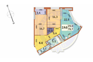 ЖК Manhattan City (Маехеттен Сіті): планування 2-кімнатної квартири 79.7 м²