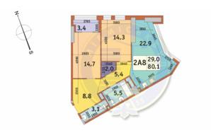ЖК Manhattan City (Маехеттен Сіті): планування 2-кімнатної квартири 80.1 м²