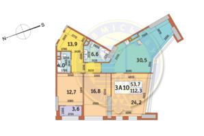 ЖК Manhattan City (Маехеттен Сіті): планування 3-кімнатної квартири 112.3 м²
